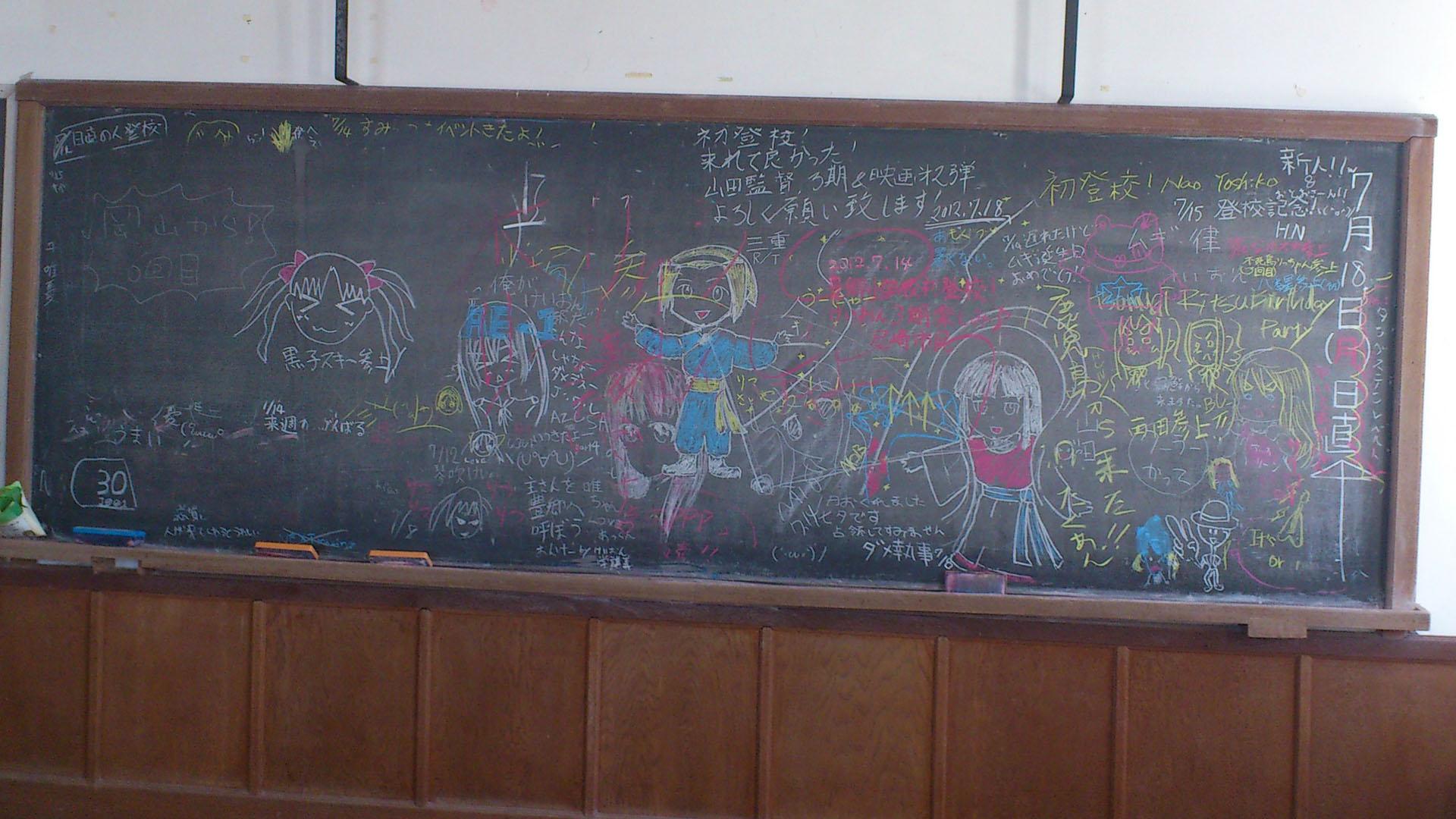 準備室の黒板